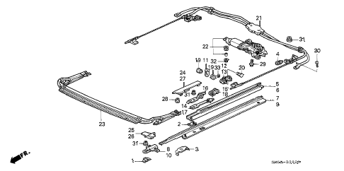 1991 accord EX 5 DOOR 5MT SUNROOF MOTOR diagram