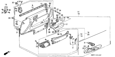 1991 accord EX 5 DOOR 5MT FRONT DOOR LINING diagram