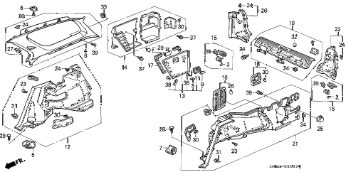 1992 accord EX 5 DOOR 5MT SIDE LINING diagram