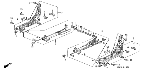 1991 accord LX 5 DOOR 4AT FRONT SEAT COMPONENTS diagram