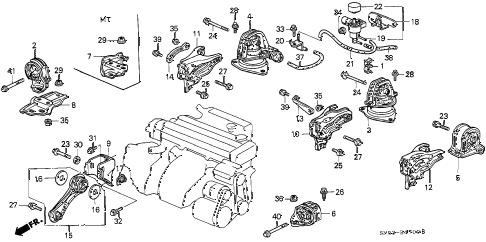 1991 accord EX 5 DOOR 4AT ENGINE MOUNT diagram
