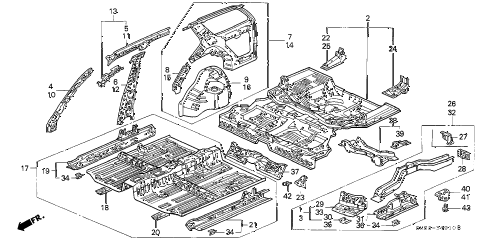 1992 accord EX 5 DOOR 5MT INNER PANEL diagram