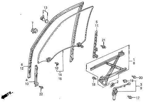 1992 accord EX 5 DOOR 5MT FRONT DOOR WINDOWS diagram