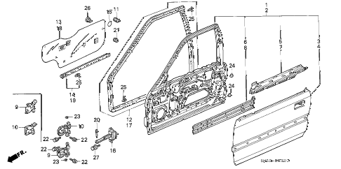 1993 accord EX 5 DOOR 5MT FRONT DOOR PANELS diagram