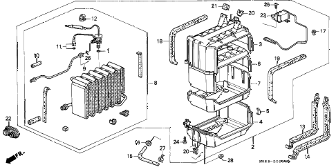 1992 accord EX 5 DOOR 4AT A/C COOLING UNIT diagram