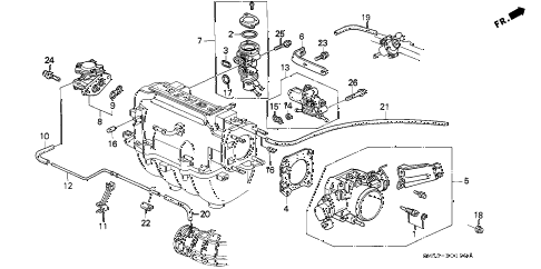 1993 accord LX 5 DOOR 5MT THROTTLE BODY diagram
