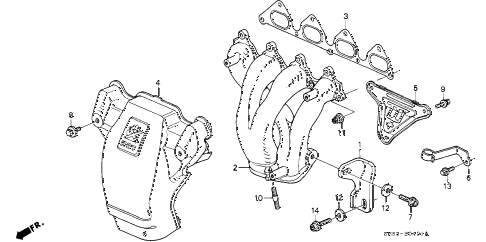 1992 accord EX 5 DOOR 5MT EXHAUST MANIFOLD (EX) diagram