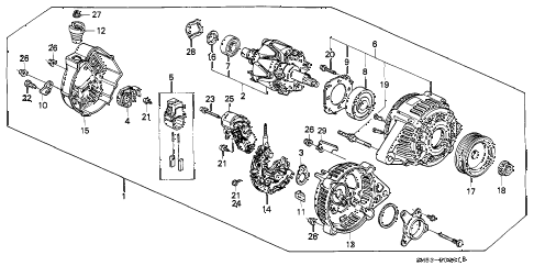 1991 accord LX 5 DOOR 5MT ALTERNATOR (DENSO) diagram