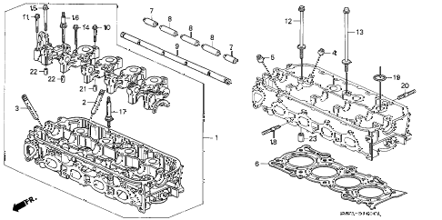 1993 accord EX 5 DOOR 5MT CYLINDER HEAD diagram