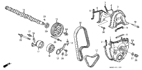 1992 accord EX 5 DOOR 4AT CAMSHAFT - TIMING BELT diagram