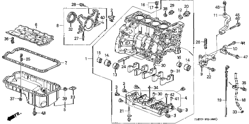 1993 accord EX 5 DOOR 4AT CYLINDER BLOCK - OIL PAN diagram
