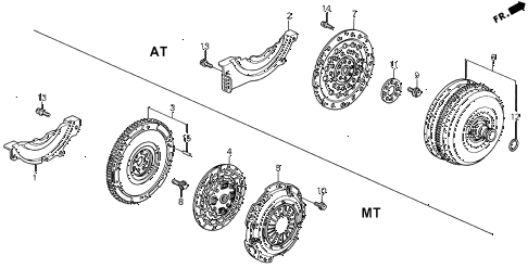 1993 accord EX 5 DOOR 5MT CLUTCH - TORQUE CONVERTER diagram