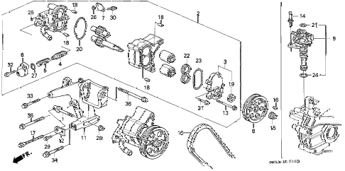 1993 accord EX 5 DOOR 5MT P.S. PUMP diagram