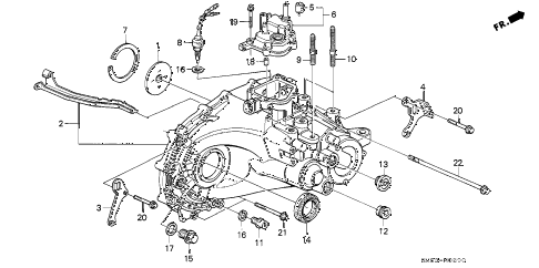 1991 accord LX 5 DOOR 5MT MT TRANSMISSION HOUSING diagram