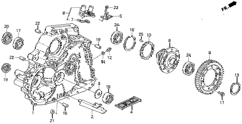 1994 del SI 2 DOOR 4AT AT TORQUE CONVERTER HOUSING diagram