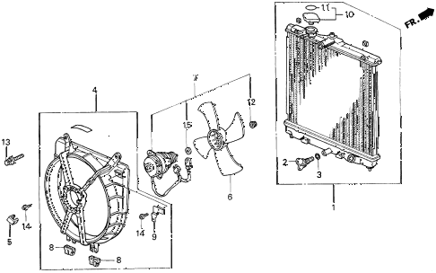 1994 del SI 2 DOOR 4AT RADIATOR (TOYO) diagram