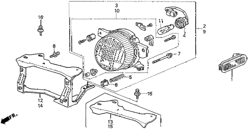 1997 del S 2 DOOR 5MT FRONT ACCESSORY LIGHT diagram
