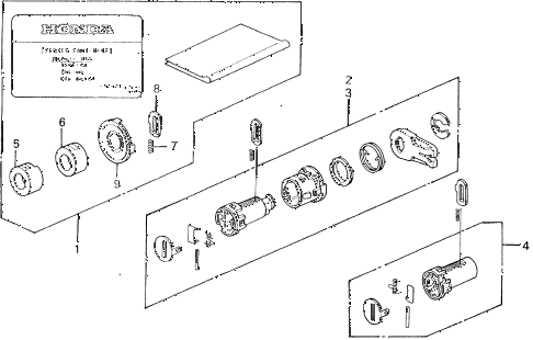1993 del S 2 DOOR 5MT KEY CYLINDER KIT diagram