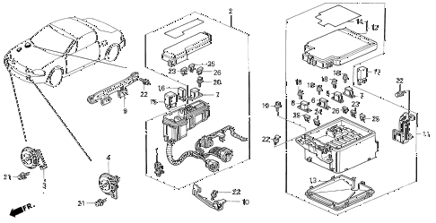 1993 del S 2 DOOR 5MT CONTROL UNIT (ENGINE ROOM) diagram