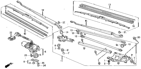 1995 del S 2 DOOR 5MT FRONT WINDSHIELD WIPER diagram