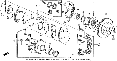 1997 del V-TEC 2 DOOR 5MT FRONT BRAKE (V-TEC) diagram