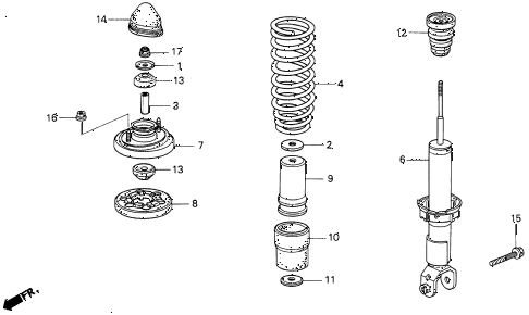 1995 del S 2 DOOR 5MT REAR SHOCK ABSORBER diagram