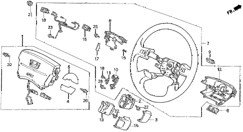 1997 del SI 2 DOOR 4AT STEERING WHEEL (SRS) diagram