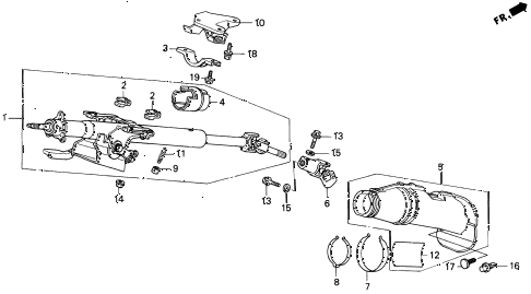 1997 del S 2 DOOR 5MT STEERING COLUMN diagram