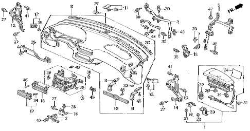 1996 del S 2 DOOR 5MT INSTRUMENT PANEL diagram