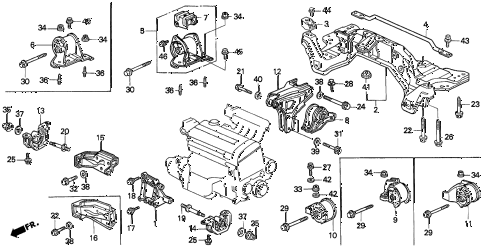 1997 del S 2 DOOR 5MT ENGINE MOUNT (1) diagram