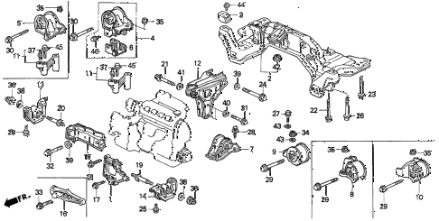 1994 del SI 2 DOOR 4AT ENGINE MOUNT (2) diagram