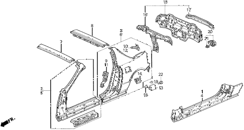 1997 del SI 2 DOOR 5MT BODY STRUCTURE COMPONENTS (3) diagram