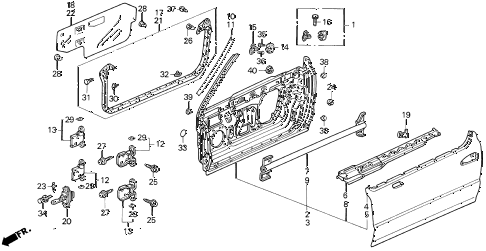 1995 del S 2 DOOR 5MT DOOR PANEL diagram