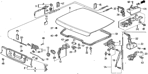 1996 del V-TEC 2 DOOR 5MT TRUNK LID diagram