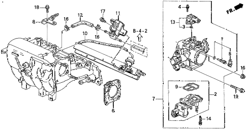 1997 del SI 2 DOOR 4AT THROTTLE BODY (3) diagram