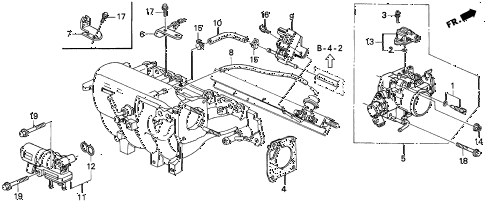 1997 del SI 2 DOOR 5MT THROTTLE BODY (4) diagram