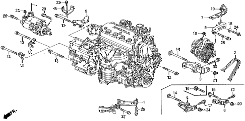 1997 del SI 2 DOOR 5MT ALTERNATOR BRACKET - ENGINE STIFFENER diagram