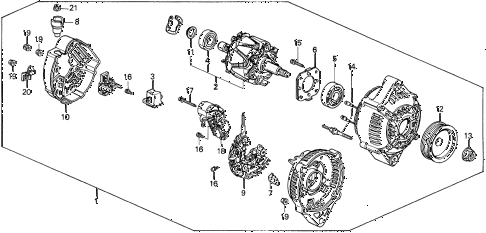 1995 del SI 2 DOOR 5MT ALTERNATOR (DENSO) (1) diagram