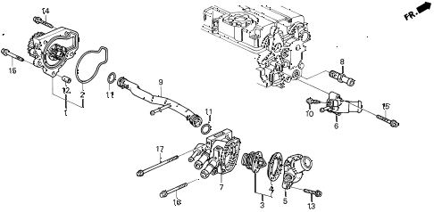 1994 del V-TEC 2 DOOR 5MT WATER PUMP - THERMOSTAT (V-TEC) diagram