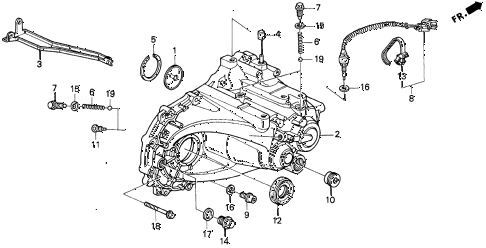 1994 del S 2 DOOR 5MT MT TRANSMISSION HOUSING (S,SI) diagram