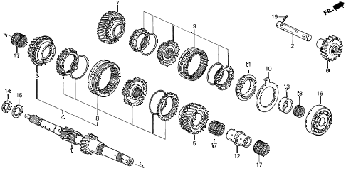 1997 del V-TEC 2 DOOR 5MT MT MAINSHAFT (V-TEC) diagram