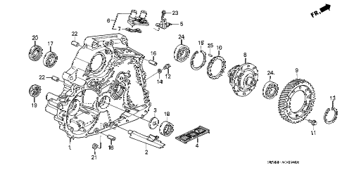 1993 civic DX 3 DOOR 4AT AT TORQUE CONVERTER HOUSING diagram