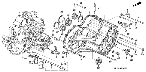 1995 civic DX 3 DOOR 4AT AT TRANSMISSION HOUSING diagram