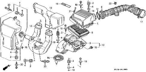 1994 civic SI(ABS) 3 DOOR 5MT AIR CLEANER diagram