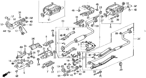 1995 civic DX 3 DOOR 5MT EXHAUST SYSTEM diagram