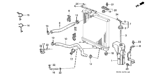 1993 civic SI 3 DOOR 5MT RADIATOR HOSE diagram