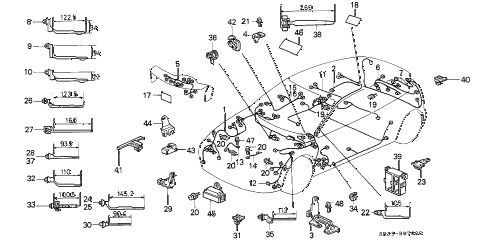 1993 civic SI 3 DOOR 5MT WIRE HARNESS diagram