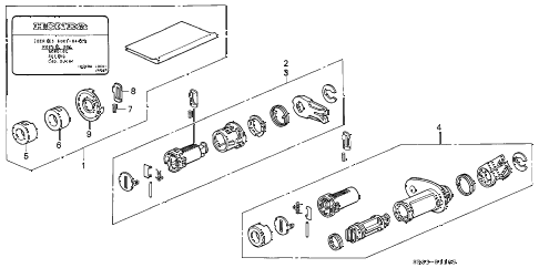 1995 civic VX 3 DOOR 5MT KEY CYLINDER KIT diagram