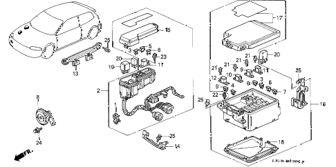 1992 civic VX 3 DOOR 5MT CONTROL UNIT (ENGINE ROOM) diagram