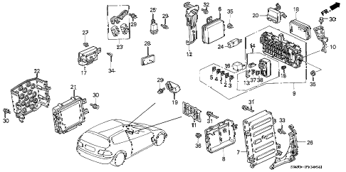 1992 civic SI 3 DOOR 5MT CONTROL UNIT (CABIN) diagram